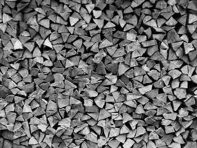 Log, Wood, Firewood, Stacked Up, Black, White