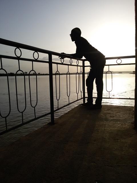 Sunset, The Niger River, River, Niger, Man, Black
