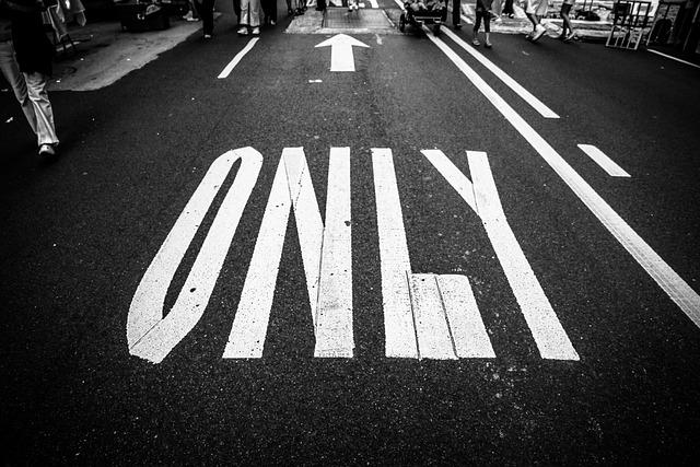 Black White, Only, Pavement, Street
