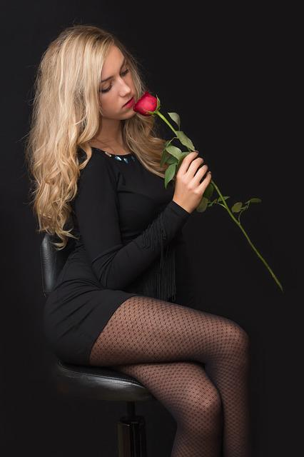 Girl, Young, Woman, Blonde, Rose, Black, Young Girl