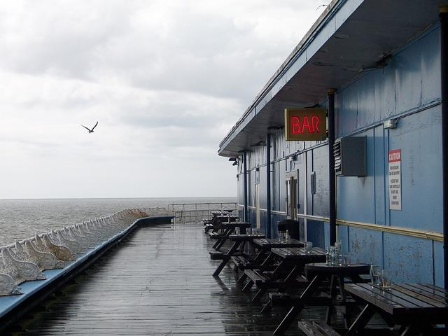 Seaside, Bar, Wet, Blackpool, Pier