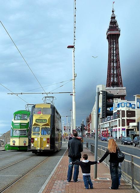 Blackpool, Trams, Pleasure, Beach, Transportation