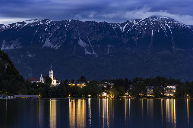 Bled, Slovenia, Landscape, Night, Lights, Mountain