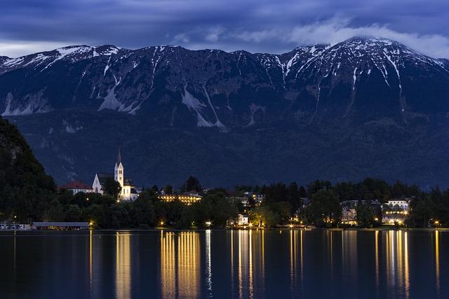 Bled, Slovenia, Landscape, Night, Lights, Mountain