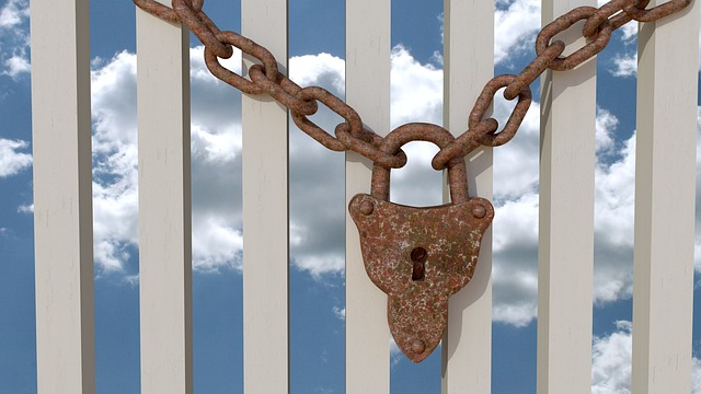 Padlock, Chain, Rust, Fence, Sky, 3d, Blender