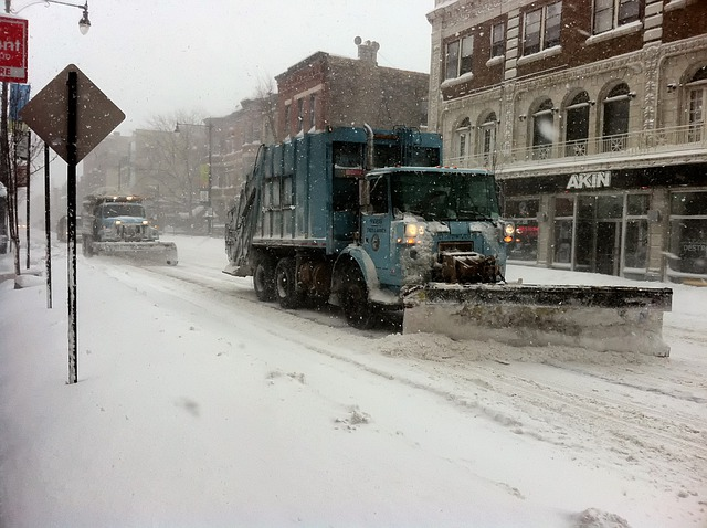 Chicago, Buildings, Snowplow, Street, Blizzard, Snowing