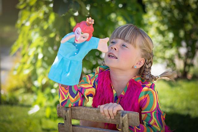 Child, Girl, Blond, Braids, Punch, Play, Puppet Theatre