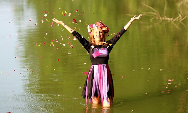 Girl, Blonde, Wreath, Water, Petals, Joy, Nature