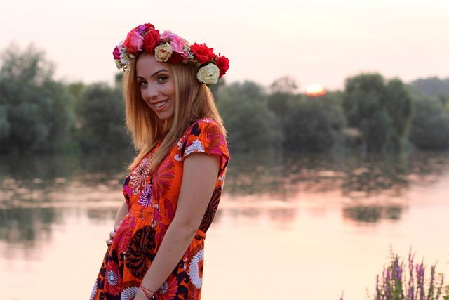 Girl, Sunset, Wreath, Lake, Water, Reflection, Blonde