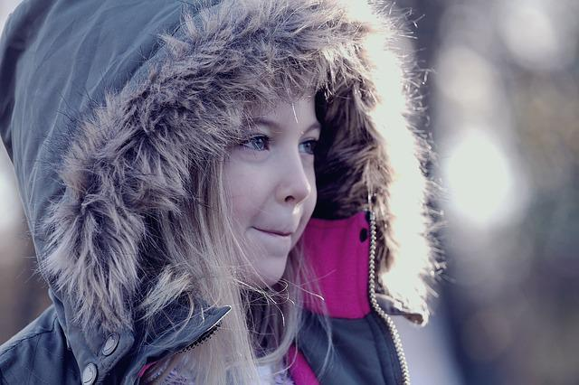 Girl, Hood, Winter, Parka, Blonde, Smile, Cold, Child