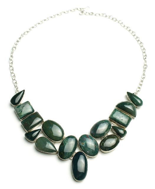 Bloodstone, Necklace, Sterling, Silver, Jewelry