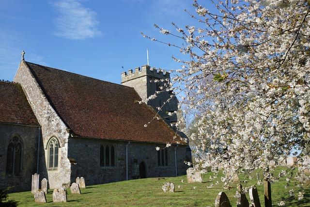 Church, Arreton, Isle Of Wight, Spring, Blossom