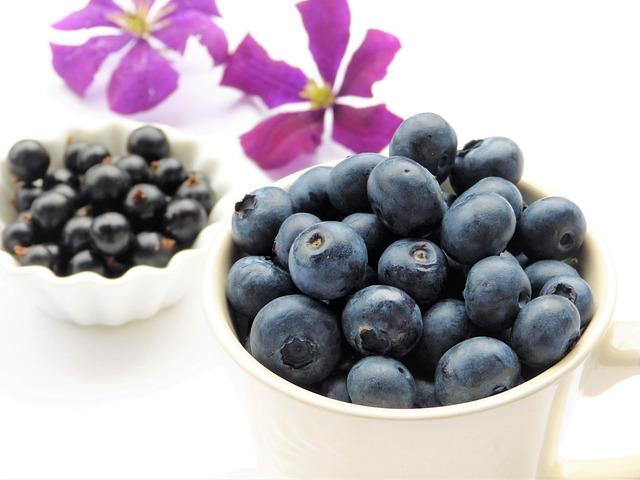 Blueberries, Black Currants, Clematis, Purple, Blossom