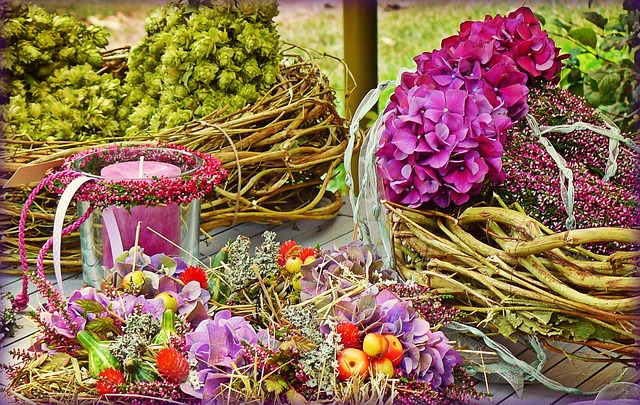 Floral Decoration, Blossoming Wreath, Hydrangea