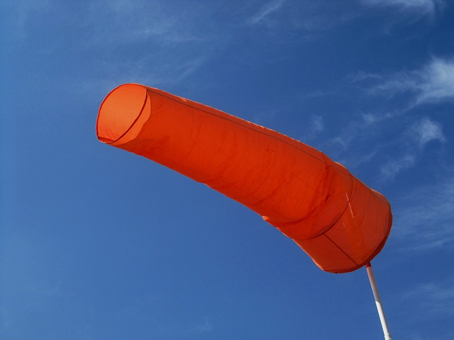 Windsock, Bright, Orange, Blowing, Wind, Deep Blue Sky