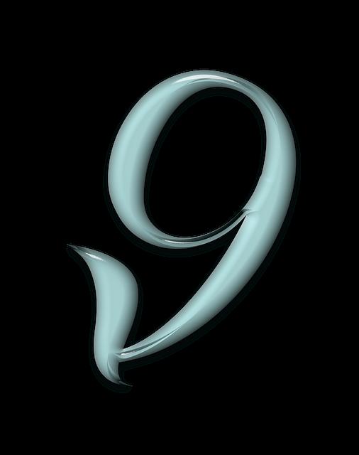 Numbers, Bevel, Aqua, Glass, Blue, 9, Nine