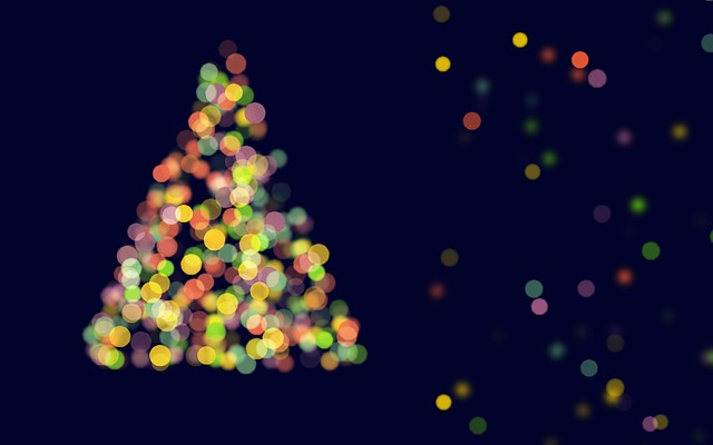 Abstract Christmas Tree, Bokeh, Blue Background
