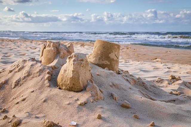 Sandburg, Sand, Sea, Clouds, Sky, Blue, Brown, Beach