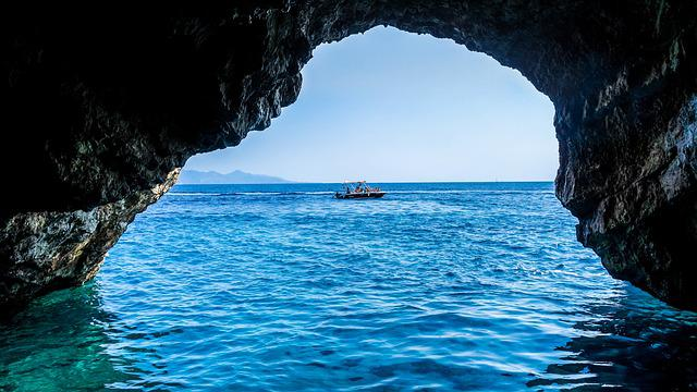 Cave, Sea, Blue Caves, Greece, Zakynthos, Ocean, Blue