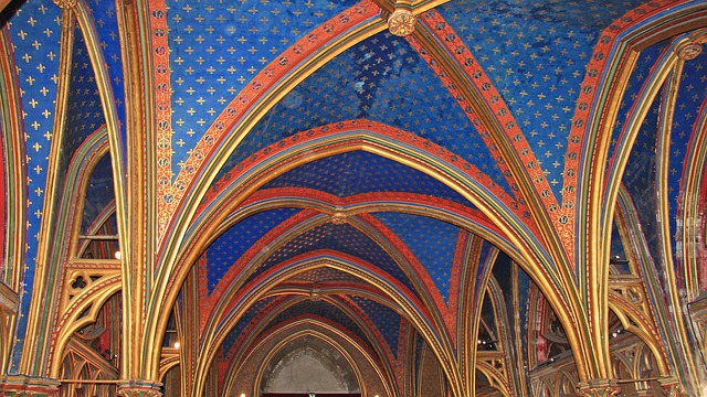 Paris, Saint Chapelle, Ceiling, Blue