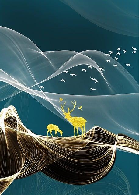 Abstract, Continental, Blue, Line, Birds, Elk