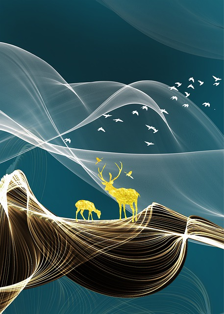 Abstract, Continental, Blue, Line, Birds, Elk