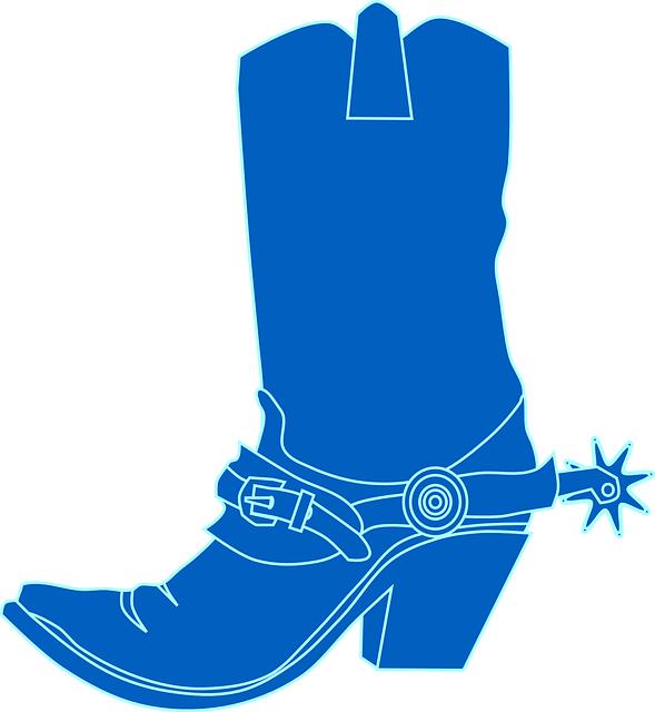 Cowboy Boots, Blue, Boot, Footwear, Wild West