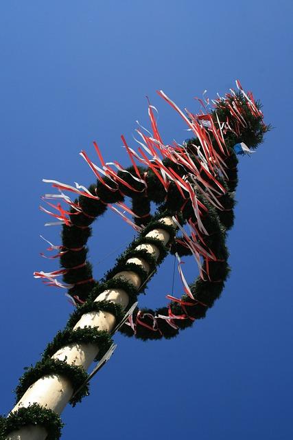 Maypole, Spring, Tradition, Blue, Sky, Bavaria, Custom
