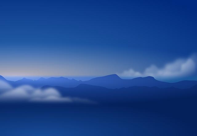 Sky, Blue, Clouds, Mountains, Dark, Evening, Atmosphere
