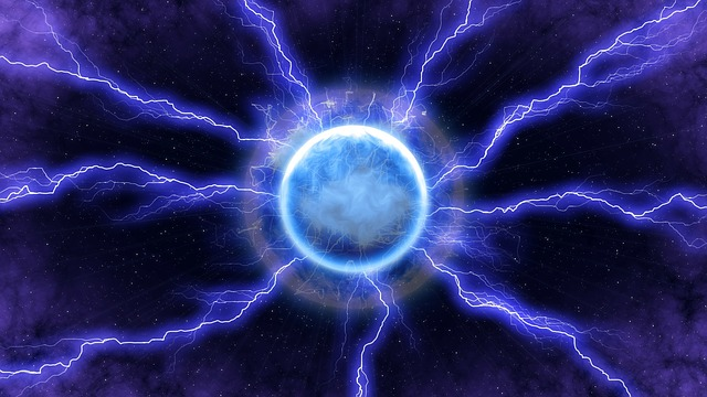 Lightning, Energy, Blue, Light, Space, Dark, Moon