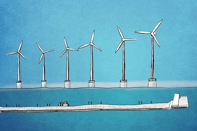 Wind Turbine, Sea, Ocean, Blue, Drawing, Blue Drawing