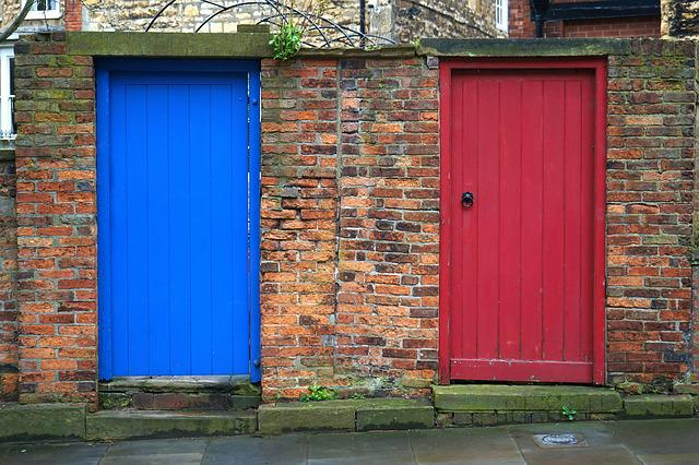 Doors, Red, Blue, Entrance, Home, House, Wooden, Wall