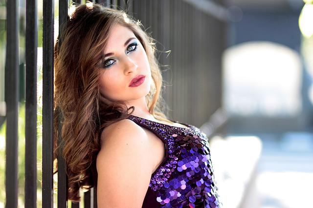 Girl, Fence, Dress, Mov, Sequins, Shine, Blue Eyes