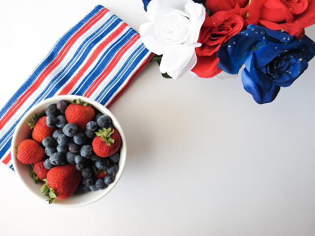 Red, White, Blue, Fruit, Berries, Patriotic, Cute