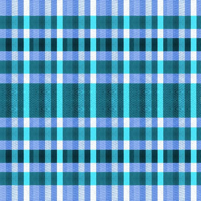Fabric, Cloth, Material, Gingham, Blue, Aqua, Shades