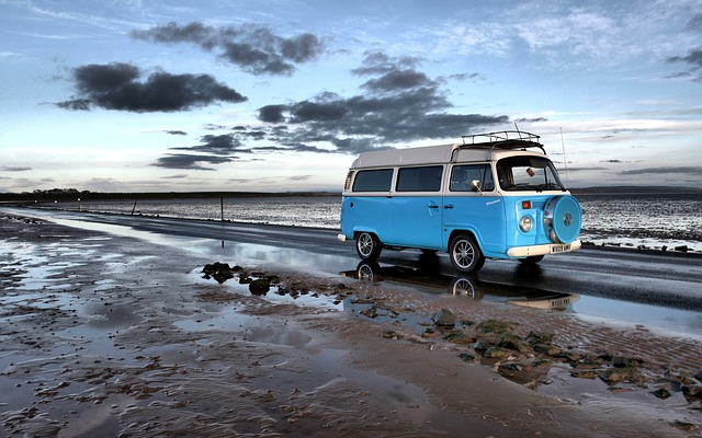 Campervan, Holy Island, Blue, Travel, Explore, Road