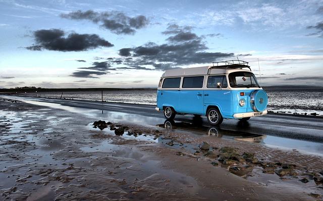 Campervan, Holy Island, Blue, Travel, Explore, Road