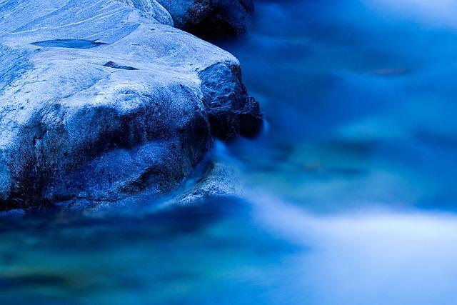 Blue Hour In Verzascatal, Switzerland, Water U, Stone
