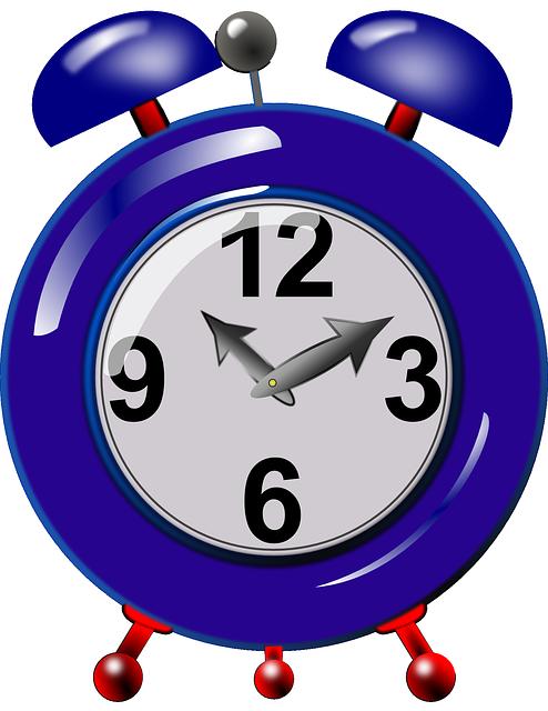 Alarm, Clock, Mechanical, Time, Ringing, Blue