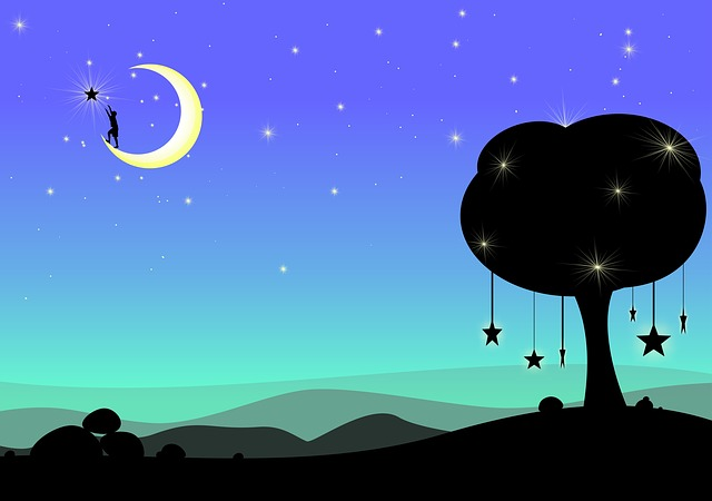 Moon, Dream, Fantasy, Surreal, Night, Dark, Blue