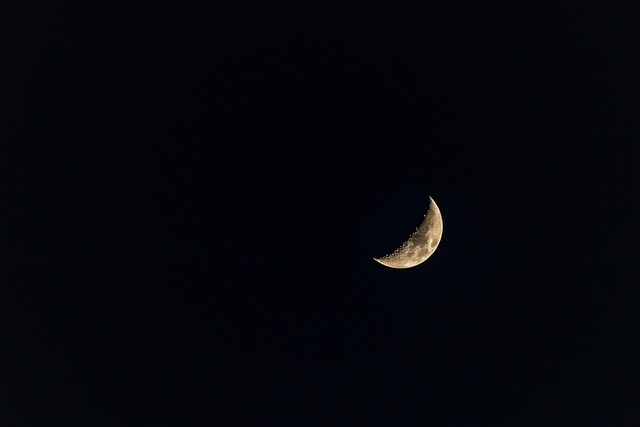 Half Moon, Moon, Night, Sky, Space, Blue, Lunar, Star
