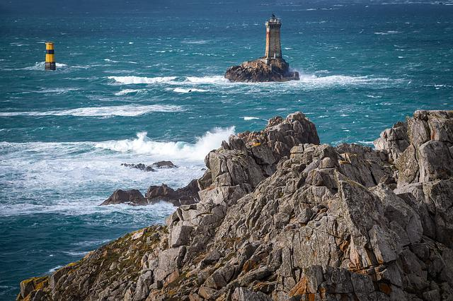 Sea, Rock, Lighthouse, Blue, Ocean, Landscape, Marin