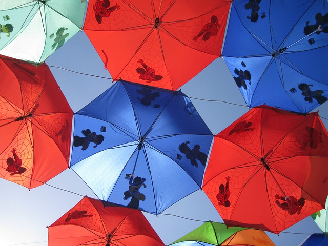 Umbrellas, Red, Blue, Patterns, Colorful, Abstracts