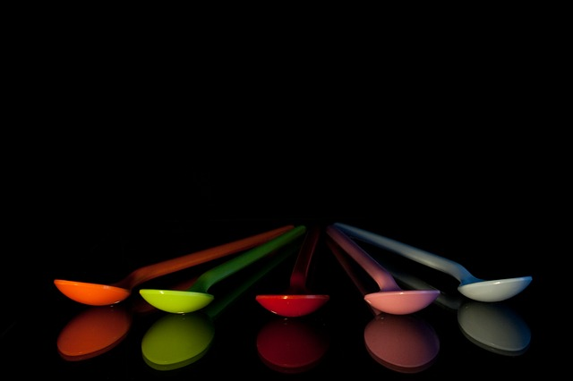 Spoons, Colorful, Plastic, Color, Blue, Art