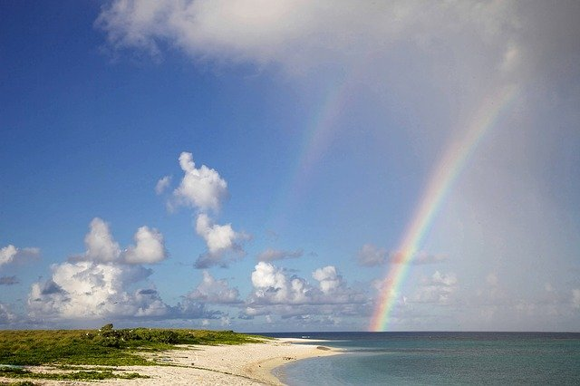 Rainbow, Beach, Scenic, Summer, Sea, Sand, Blue, Water
