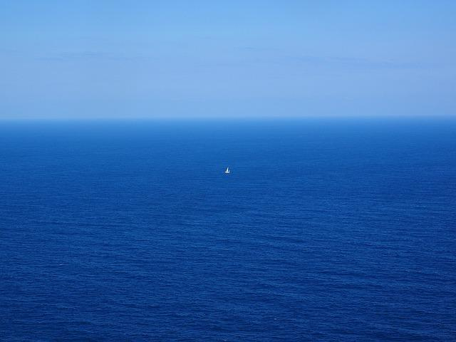 Sea, Ocean, Wide, Blue, Water, Sailing Boat, Lonely