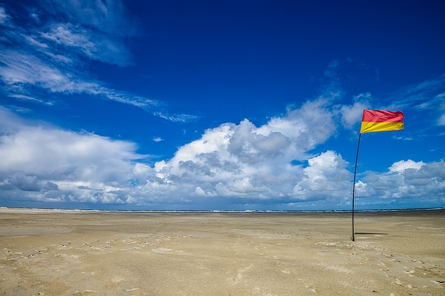 Beach, Sky, Blue Sky, Flag