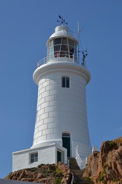 Lighthouse, White, Blue Sky, Rock, Close-up