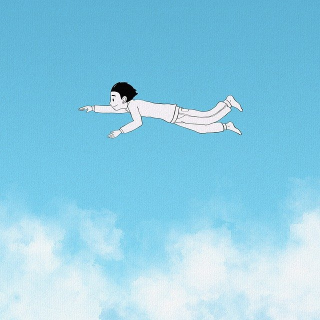 Fantasy, Children, Childhood, Blue Sky, Clouds