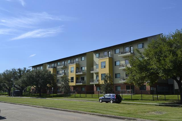 Houston Texas Apartment Complex, Grass, Blue Sky